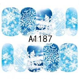 1 arkusz boże narodzenie śnieg kwiatowe naklejki na paznokcie pełne okłady woda Transfer naklejki paznokci naklejki ozdobne Mani