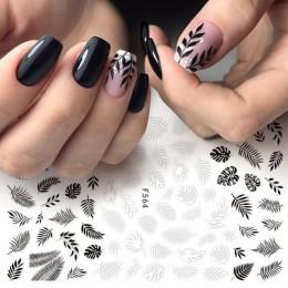 1pc naklejki foliowe na paznokcie suwak 3D naklejki czarna biała roślina liść kwiaty naklejki do Manicure Wrap płatek akcesoria
