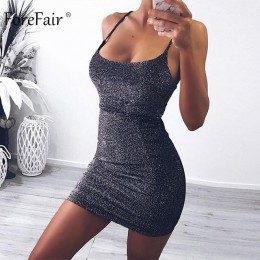 Forefair Mini impreza sukienka brokat seksowny Bodycon Spaghetti pasek Backless Off ramię krótki blask klubowa letnia sukienka k