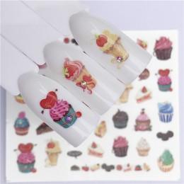 1 Pc kwitnący kwiat woda kalkomanie transferowe pyszne ciasto suwak woda Transfer paznokci naklejki paznokci tatuaż artystyczny