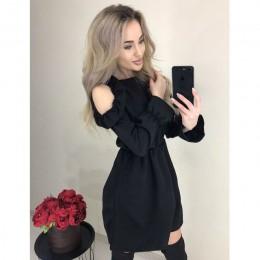2020 letnie kobiety solidna wzburzyć Mini sukienka Sexy Off ramię z długim rękawem sukienka elastyczny pas kobiety Casual Line s