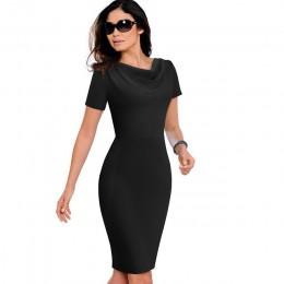 Ładny-na zawsze kobiety odzież Vintage do pracy elegancka vestidos Business Party obcisła sukienka biuro wzburzyć damska sukienk
