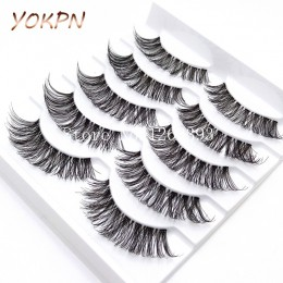 YOKPN 5 par przezroczyste sztuczne rzęsy Messy krzyż grube naturalne sztuczne rzęsy makijaż porady Bigeye długie sztuczne rzęsy