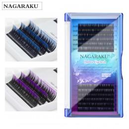 NAGARAKU makijaż rzęs rzęsy z norek kolor ombre fioletowy niebieski gradient przedłużanie rzęs Premium Faux Cils miękkie norek