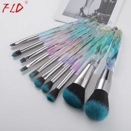 FLD 10 sztuk zestaw pędzli do makijażu podkład rozświetlający szczotki Eyeliner korektor do brwi zestaw pędzelków zestaw narzędz
