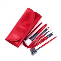 BANXEER zestaw pędzli do makijażu 7 sztuk/partia miękkie włosy syntetyczne Blush Eyeshadow Lips pędzel do makijażu ze skórzanym