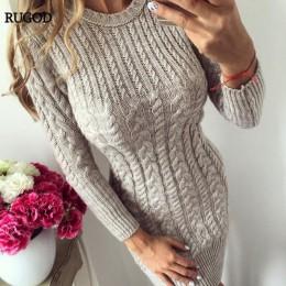 RUGOD 2019 nowa jesienna zima ciepły sweter sukienka kobiety seksowna dopasowana sukienka typu bodycon kobieta O neck z długim r