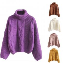 Jesienno-zimowa moda damska sweter podstawowy damski sweter rękaw w kształcie skrzydła nietoperza jednolity kolor Femme z dziani