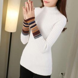 JoinYouth półgolf ciepłe pulowery 2020 jesienne zimowe ubrania damskie paski ciepłe swetry koreański sweter Femme Slim J223