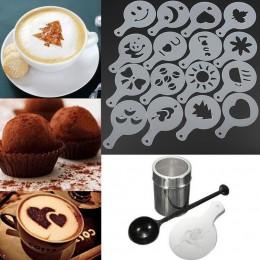 16 sztuk/zestaw Cafe Foam szablon do dekoracji Barista szablony narzędzie dekoracyjne Garland Mold drukowanie na kawie kwiat Mod