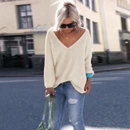 2019 nowy Plus rozmiar jesień zima Knitting Casual z długim rękawem jednolite kolory sweter luźne swetry damskie moda damska odz
