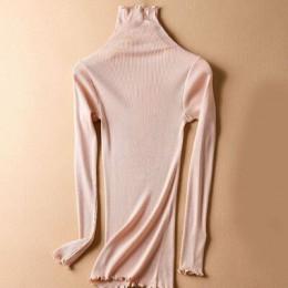 SuyaDream kobiety stałe swetry z golfem 80% jedwabiu 20% bawełna Slim Fit żebra 2019 jesień zima wydłużona dzianina nosić