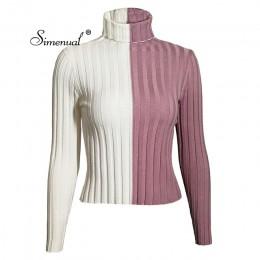 Simenual Patchwork damskie swetry z golfem i swetry jesień odzież z dzianiny skinny sexy przycięte damski sweter gorąca sprzedaż
