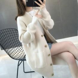 Sweter damski2019autumn/winter Fashion women Cardigans długi guzik na rękawie sweter damski Casual jednolity kolor, długi sweter