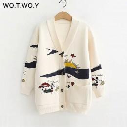 WOTWOY jesień białe dzianiny bawełniane płaszcz damski 2020 drukuj V-neck kieszenie na pasek OpenSwitch damskie bluzy Casaul prz