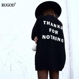 Rugod Fashion Letter haftowany kardigan damskie klasyczne, na wiosnę jesień sweter dzianinowy płaszcz damski Casual długi kardig