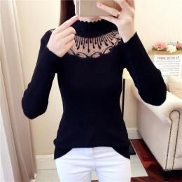 2019 koronkowe swetry z golfem seksowne swetry drążą zimowe damskie biały sweter elastyczność Bodycon podstawowy długi sweter z