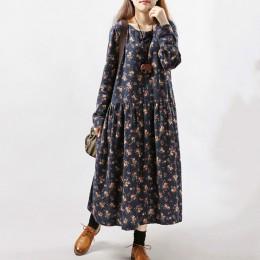 2020 nowych kobiet sukienki jesienno-zimowy nadruk w stylu vintage Casual z długim rękawem bawełna retro suknia w stylu maxi tun