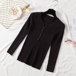 AOSSVIAO 2020 jesienno-zimowy guzik V Neck sweter damski w stylu Basic Slim pulowery damskie i swetry dzianinowy sweter bluzki d