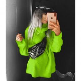 BOOFEENAA Fashion Turtleneck nadwymiarowy sweter zimowe ubrania damskie neonowe zielone różowe pomarańczowe swetry damskie bluzk