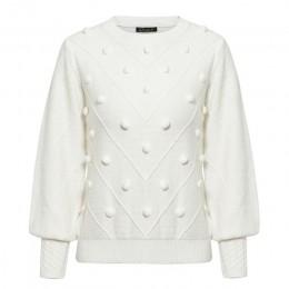 Misswim elegancki pompon biały sweter kobiet invierno 2020 latarnia rękaw sweter z dzianiny kobiet sweter panie jumper Streetwea