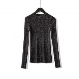 WOTWOY błyszczące Lurex jesień zima sweter kobiet z długim rękawem sweter kobiet swetry Basic kobiet 2020 koreański styl bluzki