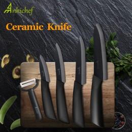 """Nóż kuchenny nóż ceramiczny zestaw do gotowania 3 """"4"""" 5 """"6"""" calowy + obieraczka czarne ostrze Paring owoce warzywa Chef nóż narz"""