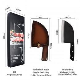ZEMEN Butcher nóż kuchenny Cleaver 7Cr17Mov krajalnica ze stali nierdzewnej Chopper zestaw noży wysokiej jakości 6.5 cal Chef's