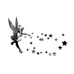 Wróżka anioł akrylowe naklejki ścienne z efektem lustra 3D DIY anioł w świecie gwiazda lustro srebrne ścienne naklejki dla dziec