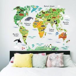 Kolorowy świat zwierząt naklejki ścienne z mapą salon dekoracje domu naklejka z pvc sztuka na ścianę 037 diy biuro dzieci pokój
