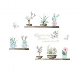 Kolorowy ogród 3d żywe rośliny ściana kwiatów naklejki salon kwiat motyl bonsai naklejki ścienne diy mural plakaty artystyczne