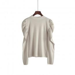 Modny sweter jesienno-zimowy sweter z dzianiny damskie 2019 w koreańskim stylu oversize swetry damskie bufiaste rękawy dzianinow