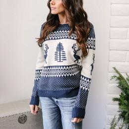 Danjeaner świąteczny sweter 2018 zimowy klasyczny nadruk jelenia dzianinowe swetry Plus rozmiar Streetwear z długim rękawem przy