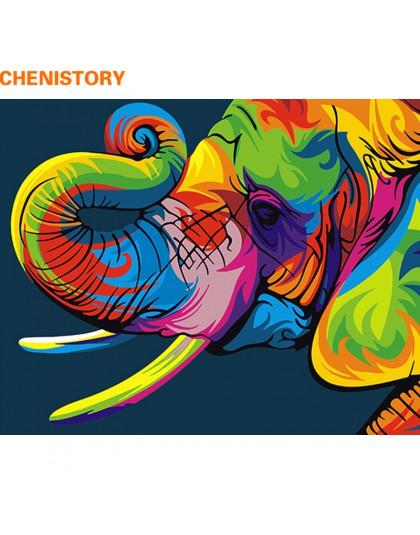 CHENISTORY bezramowe kolorowe słoń ręcznie malowany obrazek według numerów obraz ze zwierzętami i kaligrafia unikalny prezent do