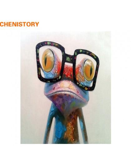 CHENISTORY abstrakcyjna farba żaba zwierzęta ręcznie malowany obrazek według numerów akrylowy obraz ręcznie malowany obraz olejn