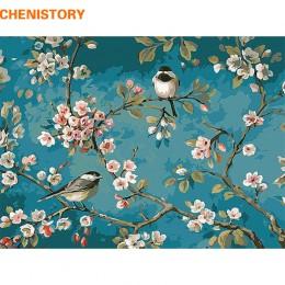 CHENISTORY ptak na drzewo kwiatowe DIY cyfrowe malowanie przez zestawy liczb akrylowy kolor rysunek numerami dla dzieci wyjątkow