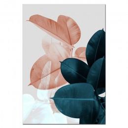 Zdjęcia ścienny do salonu liść Cuadros obraz plakat skandynawski kwiatowy obraz ścienny na płótnie botaniczne plakaty i druki