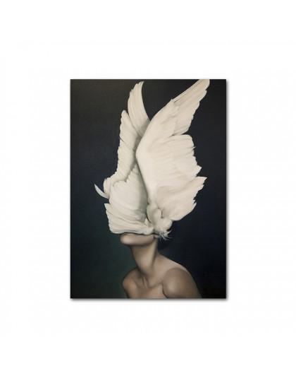 Nagie nagie kobiety z piór plakaty i druki Nordic rysunek na płótnie malarstwo dziewczyny Wall Art zdjęcia kwiatów do salonu syp