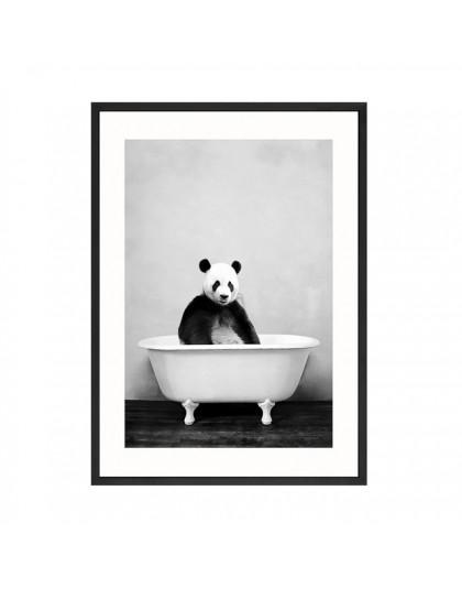 Dla dzieci zwierząt w wannie plakat Panda żyrafa słoń lew świnia krowa obraz na płótnie przedszkole Wall Art Nordic obraz dekora