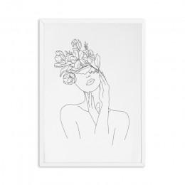 Abstrakcyjne kobiet rysowanie linii Nordic plakaty drukuje nowoczesne na płótnie malarstwo ścienne sztuki kwiat dziewczyna obraz