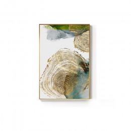 Streszczenie złoty liść żyły malarstwo Tableaux duży plakat HD Wall Art do salonu wejście nawy cuadros Salon decoracion