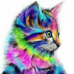 Bezramowe streszczenie kota zwierząt zrób to sam Malowanie numerami Farba akrylowa na płótnie Rysunek farby przez numery Unikaln