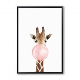 Bańka guma do żucia żyrafa Zebra plakaty ze zwierzętami płótno artystyczny obraz Wall Art obraz dekoracyjny przedszkola styl ska