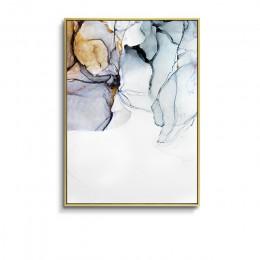 Nordic Morden abstrakcyjny niebieski-szara linia obraz ścienny na płótnie złoty niebieski dym plakat artystyczny obraz ścienny d
