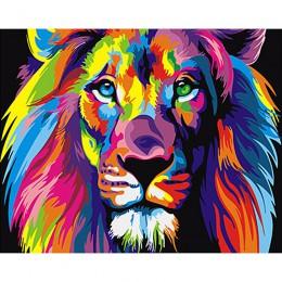 Bezramowe Kolorowe Lwy Zwierzęta Zrób to sam Malowanie Numerami Unikalny Prezent Nowoczesne Wall Art Canvas Malarstwo Do Dekorac