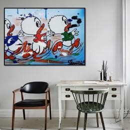 Wall Art wydruki na płótnie plakat Nordic malarstwo kot kreskówka i mysz zdjęcia dekoracja wnętrz nowoczesny salon modułowe opra