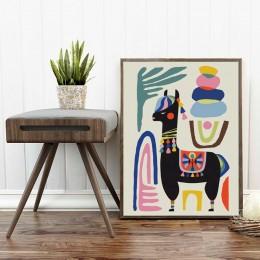 Lama plakat Alpaca owca dom inspirujący obraz ścienny na płótnie w połowie wieku Wall Art grafiki do pokoju dziecięcego nowoczes