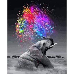 HUACAN farba według numeru słoń zwierząt ręcznie malowane DIY zestaw podarunkowy rysunek na płótnie obraz olejny ściana z obraza