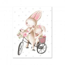 Woodland Bunny kwiecisty nadruk Boho przedszkole Wall Art królik obraz na płótnie plakaty kreskówka dla dzieci dekoracja do sypi