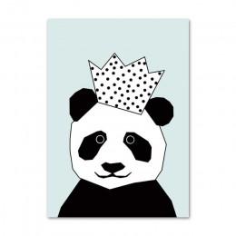Prosty styl skandynawski drukuje rysunek przedstawiający pandę plakaty obraz na płótnie Wall Art Stars obraz dziecięcy pokój dzi
